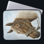 "Working Horse Laptop Sleeve<br><div class=""desc"">Protect your laptop with style! Western Horse lovers will delight with this stand out equine inspired neoprene laptop sleeve. This equine art sleeve is as fun as it is functional. Beautifully designed from an original oil painting titled &#39;The Boss&#39; Mount&#39; by Artist Cathy Cleveland.</div>"