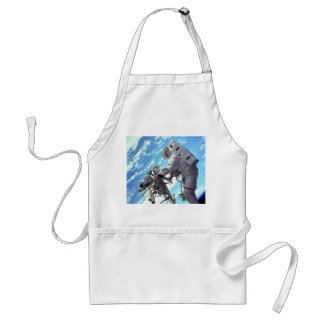 Working In Space - Incredible Earth In Background Adult Apron