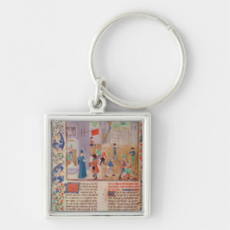 Working in the Vineyard Silver-Colored Square Keychain
