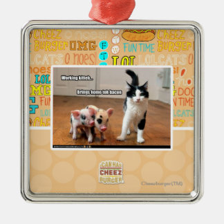 Working kitteh square metal christmas ornament