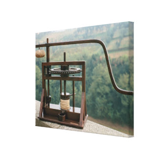 Working model of an olive press canvas print