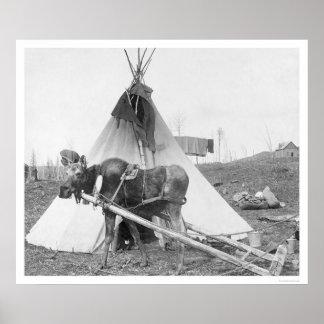Working Moose Teepee 1916 Poster