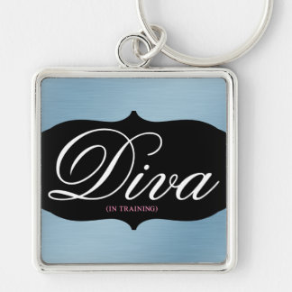 Working on becoming a diva 1 Silver-Colored square keychain