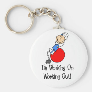 Working on Working Out T-shirts and Gifts Basic Round Button Keychain