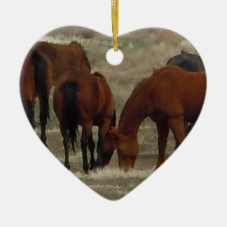 Working Ranch Cow Horses Western Two-sided Double-Sided Heart Ceramic Christmas Ornament