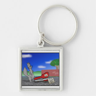 Working Squirrel: Cute Ain't Free. Cartoon Design. Silver-Colored Square Keychain