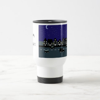 Working The Night Shift Cartoon Street At Night Travel Mug