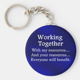 Working together to benefit others basic round button keychain