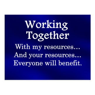 Working together to benefit others postcard
