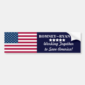 Working Together to Save America! Romney~Ryan 2012 Bumper Stickers