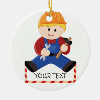 Workman construction blond hair ceramic ornament