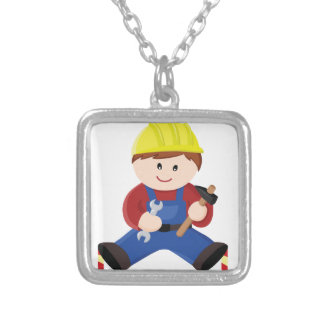 Workman for children silver plated necklace
