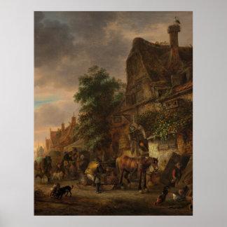 Workmen before an Inn by Isack van Ostade Poster