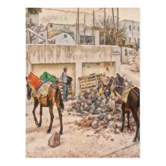 Workmen in Santorini Greece Postcard