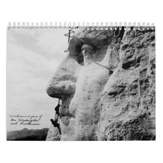 Workmen on George Washington Face Mount Rushmore Calendar