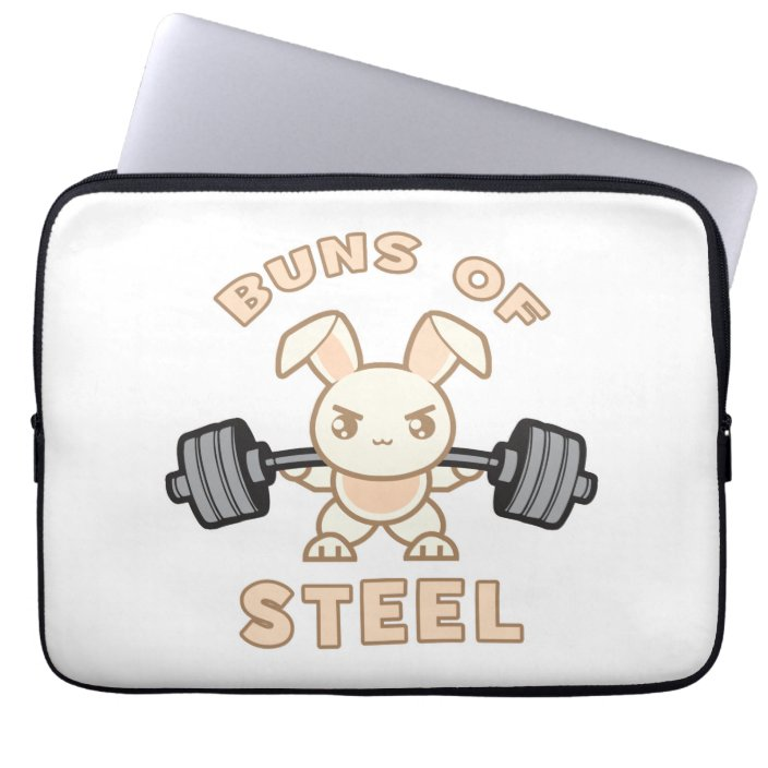 Workout Bunny Cartoon Buns Of Steel Funny Gym Laptop Sleeve Zazzle Com