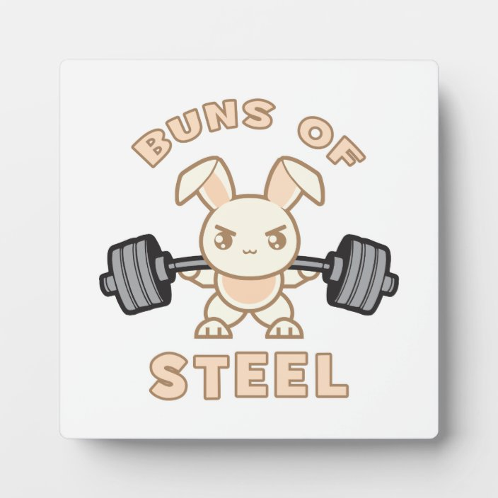 Workout Bunny Cartoon Buns Of Steel Funny Gym Plaque Zazzle Com