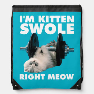 Workout - Cat - I'm Kitten Swole Right Meow Drawstring Bag
