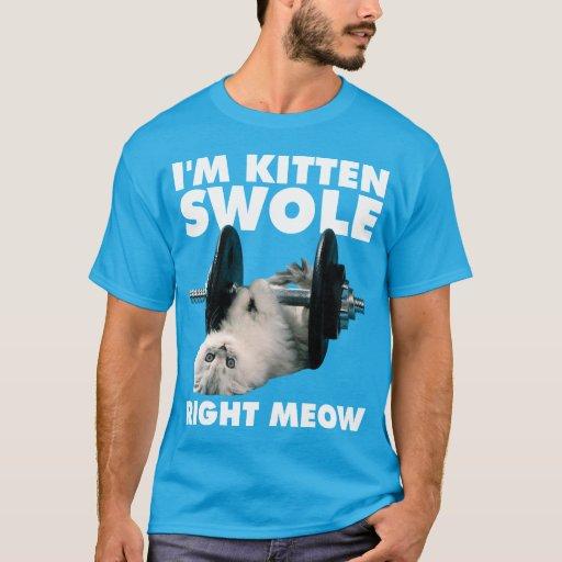Workout - Cat - I'm Kitten Swole Right Meow T-Shirt