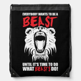 Workout Fitness Gym Motivation - Beast Drawstring Bag