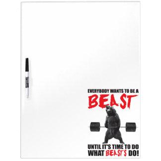 Workout Fitness Gym Motivation - Beast Dry Erase Whiteboard