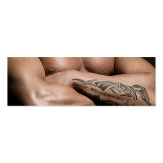 Workout Fitness Gym Toned Muscular Male Chest Pecs Mini Business Card