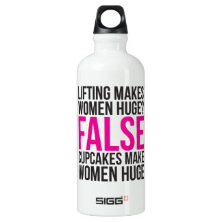 Workout Fitness Motivation - Lifting vs Cupcakes Aluminum Water Bottle