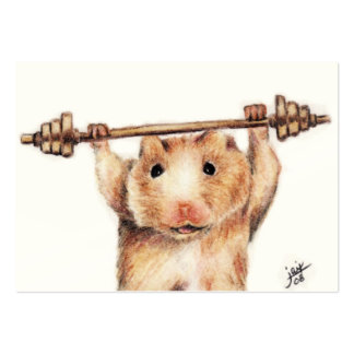 Workout (Hamster) ACEO Art Trading Cards Large Business Card