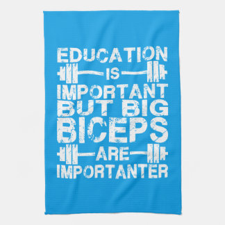Workout Humor - Big Biceps Are Importanter Hand Towels