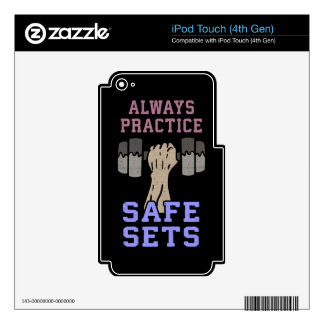 Workout Humor - Practice Safe Sets - Novelty Gym Skin For iPod Touch 4G