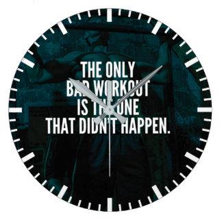 Workout Inspirational Words - Bad Workout Large Clock