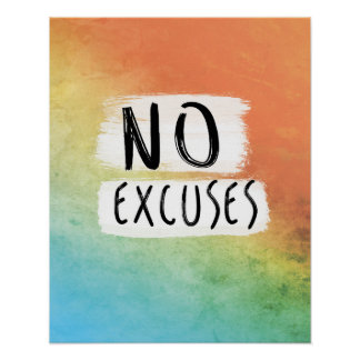 Workout Motivation, Office Motivation, No Excuses Poster