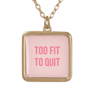 Workout Motivational Quote Too Fit Hot Pink Square Pendant Necklace