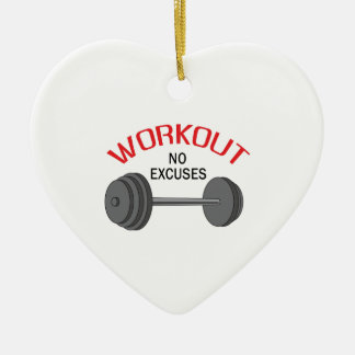 WORKOUT NO EXCUSES Double-Sided HEART CERAMIC CHRISTMAS ORNAMENT