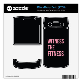 Workout Quote Witness The Fitness Black Pink Skins For BlackBerry Bold