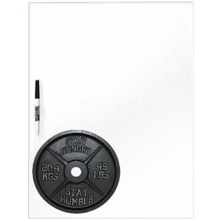 Workout - Stay Hungry, Stay Humble - Barbell Plate Dry Erase Board