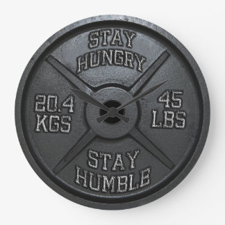 Workout - Stay Hungry, Stay Humble - Barbell Plate Large Clock