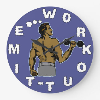 Workout Time Weightlifting Gym Retro Black Man Large Clock