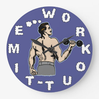 Workout Time Weightlifting Gym Retro White Man Large Clock