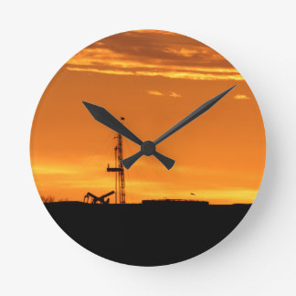 Workover Rig at Sunset Round Clock