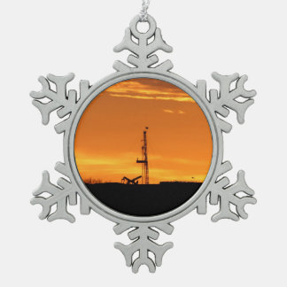 Workover Rig at Sunset Snowflake Pewter Christmas Ornament