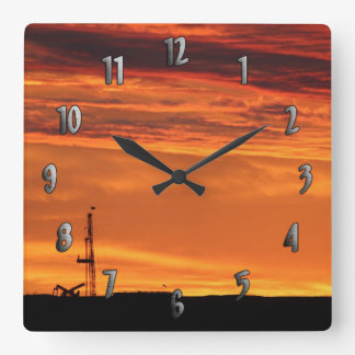 Workover Rig at Sunset (with numbers) Clock