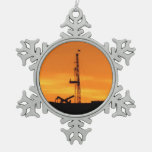 Workover Rig Silhouette at Sunset Ornament
