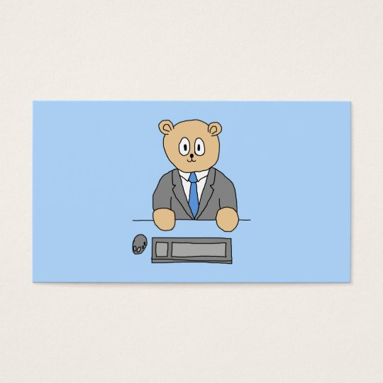 Works in an Office. Blue Tie. Business Card