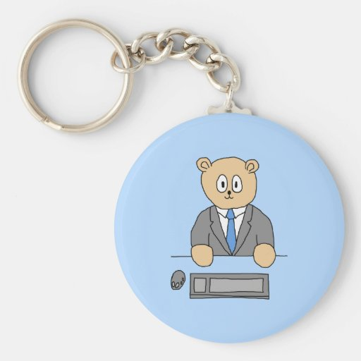 Works in an Office. Blue Tie. Basic Round Button Keychain