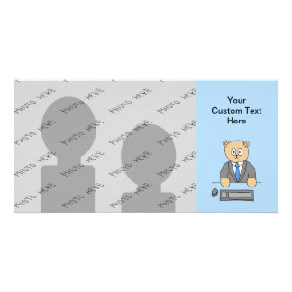 Works in an Office. Blue Tie. Photo Card Template