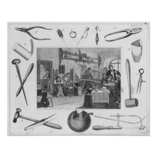 Workshop and main tools of jewellery, 1810 print