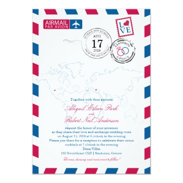 labellarue World Airmail USA & Santorini Greece | Wedding Card