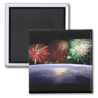 World and Fireworks 2 Inch Square Magnet