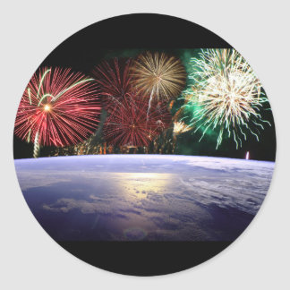 World and Fireworks Classic Round Sticker